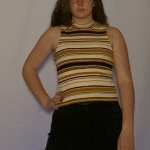 Striped Tight Tank-top with Turtleneck